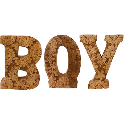 Hand Carved Wooden Flower Letters Boy - Simply Utopia