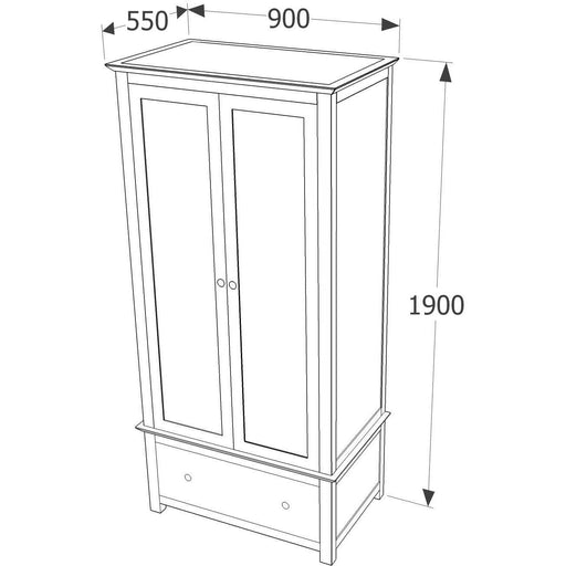 Nairn 2 door, 1 drawer wardrobe - Simply Utopia