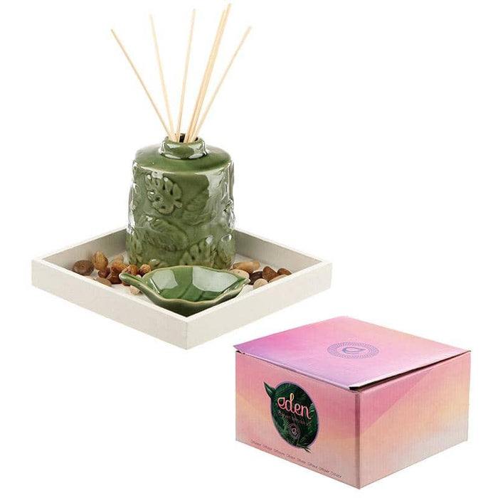 Eden Aroma Set - Ceramic Tropical Leaf Diffuser Set - Simply Utopia
