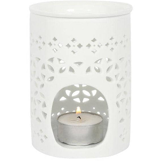 White Matte Cut Out Oil Burner - Simply Utopia