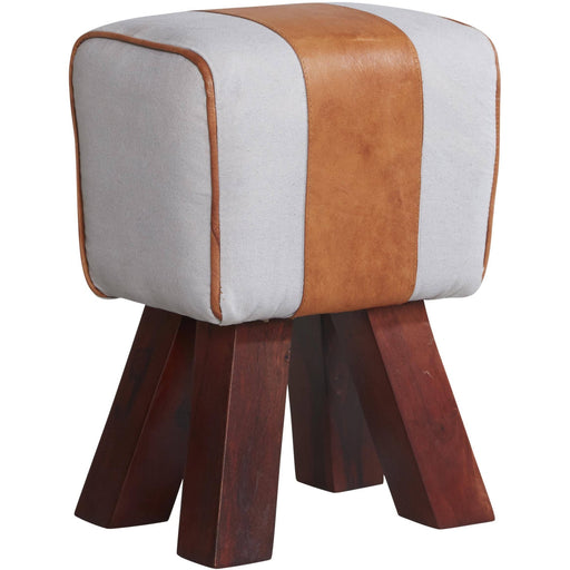 Genuine Goatskin Leather And Canvas Stool - Simply Utopia