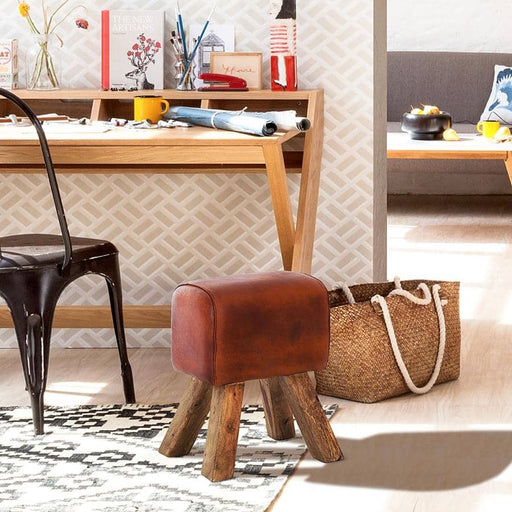 Stool Turned Buck Genuine Leather - Simply Utopia