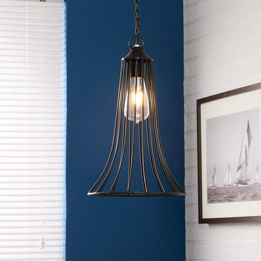 Galvanised Metal Cone Cage Hanging Lamp - Simply Utopia