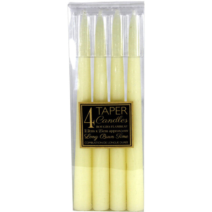 Set Of 4 Ivory Taper Candles - Simply Utopia