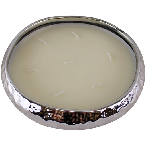Silver Ceramic Bowl With 7 Wick Sandalwood Fragranced Candle - Simply Utopia