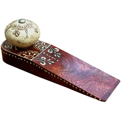 Red Doorstop With Wooden  Knob - Simply Utopia