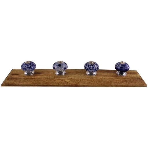 Blue & White Decorative Cat Hooks On Wooden Base - Simply Utopia