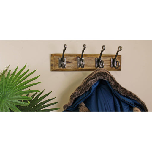 4 Piece Double Metal Hooks On Wooden Base - Simply Utopia