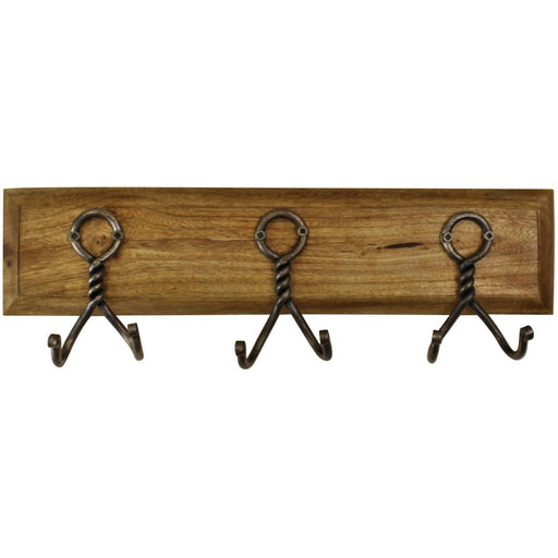 3 Piece Double Metal Hooks On Wooden Base - Simply Utopia