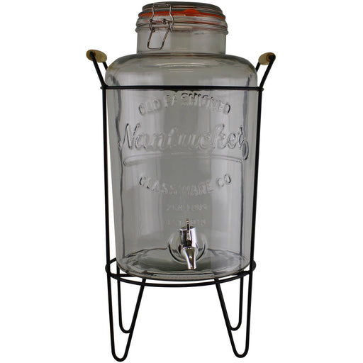 Vintage Style Glass Juice Dispenser on Metal Stand - Simply Utopia