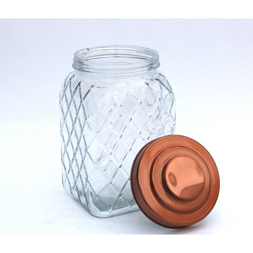 Copper Lidded Square Glass Jar - 10.5 Inch Med - Simply Utopia