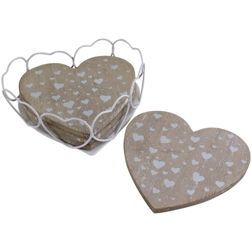 Set Of 4 Heart Shaped Coasters In Wire Holder - Simply Utopia
