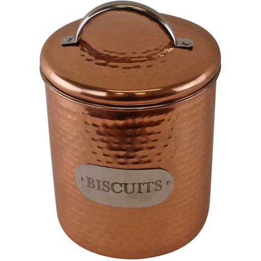 Hammered Copper Biscuit Tin, 17x14cm - Simply Utopia