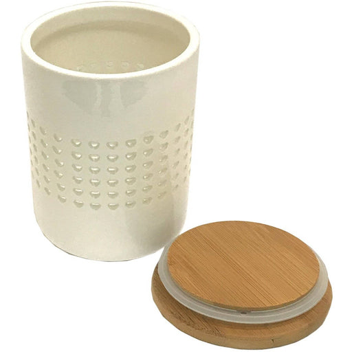 Heart Cut Out Storage Canister With Wood Lid - Simply Utopia