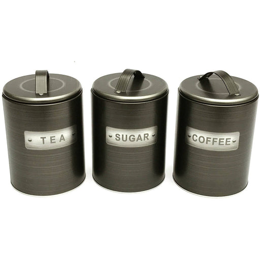 Brushed Tin Tea/Coffee/Sugar Canisters - Simply Utopia