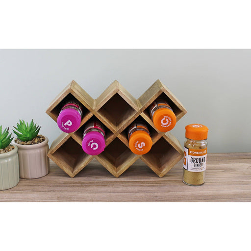 Freestanding Wooden Spice Rack, holds 8 bottles - Simply Utopia