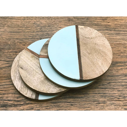 Set Of 4 Round Two Toned Wooden Coasters - Green - Simply Utopia