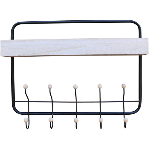 Wall Hanging Shelf With Coat Hooks - Simply Utopia