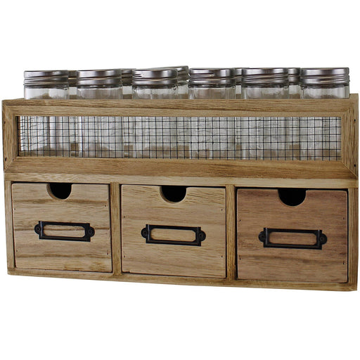 12 Jar Freestanding Spice Rack With Bottles & 3 Drawer Cabinet - Simply Utopia