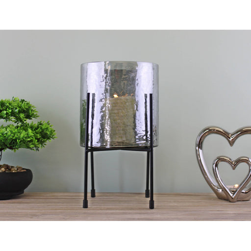 Grey Glass Candle Lantern On Stand - Simply Utopia