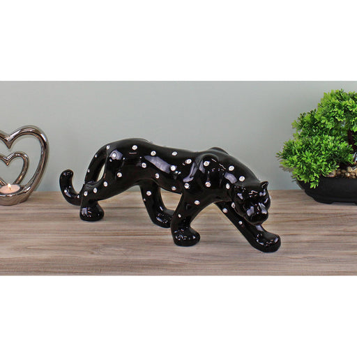 Black Ceramic Leopard With Jewels Ornament 44cm - Simply Utopia
