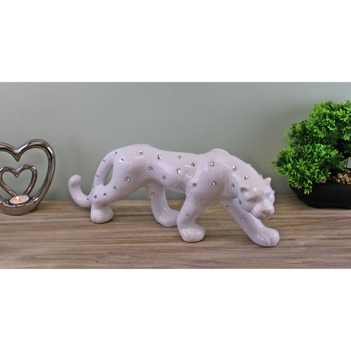White Ceramic Leopard With Jewels Ornament 44cm - Simply Utopia