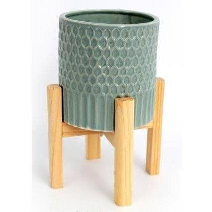 Large Ceramic Teal Coloured Planter On A Rustic Wooden Stand - Simply Utopia