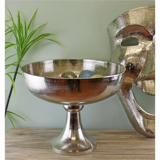 Silver Metal Bowl On Stand, 42x35cm - Simply Utopia