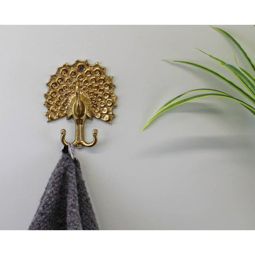 Small Gold Metal Peacock Double Coat Hook - Simply Utopia