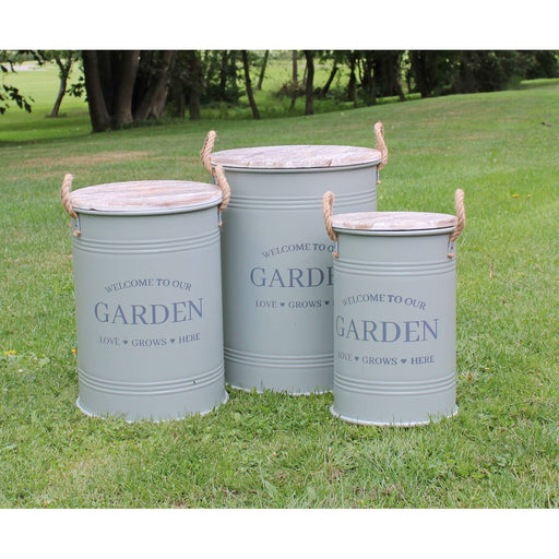 Set of Three Potting Shed Green Round Storage Tins - Simply Utopia