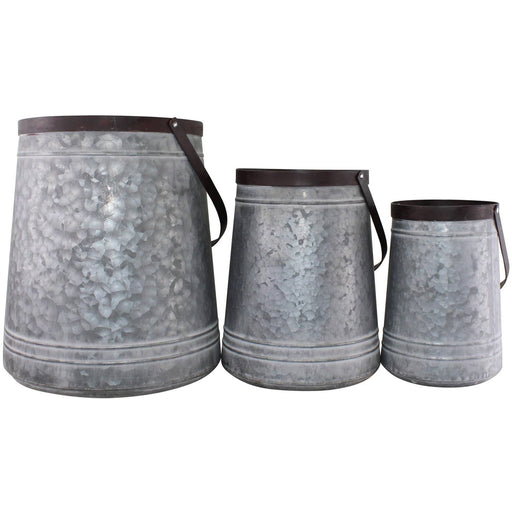 Set of 3 Bucket Style Metal Planters - Simply Utopia