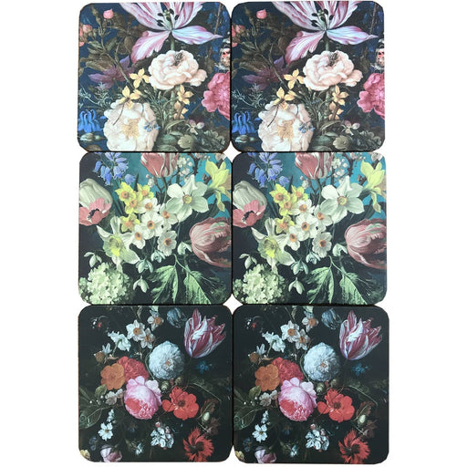 Pack Of Six Dutch Floral Coasters In Gift Box - Simply Utopia