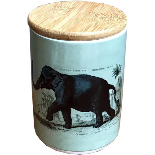 Elephant Ceramic Canister With Sealed Bamboo Wood Lid - Simply Utopia