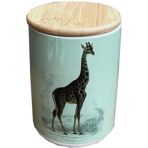 Giraffe Ceramic Canister With a Bamboo Wood Lid - Simply Utopia