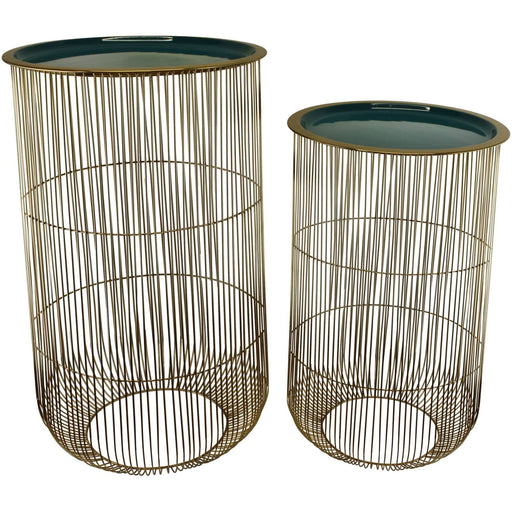 Set of 2 Iron and Stainless Steel Decorative Side Tables in Gold & Teal - Simply Utopia
