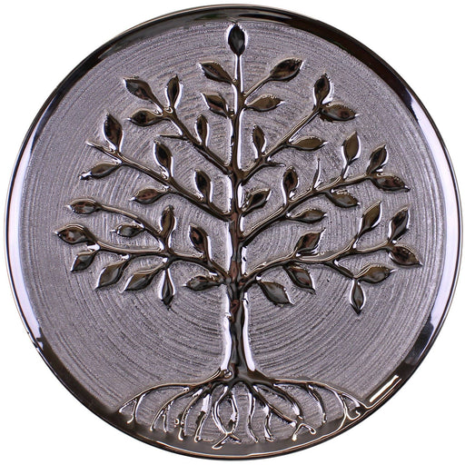 Ceramic Silver Tree Of Life Plate, Wall Hanging or Freestanding, 27cm. - Simply Utopia