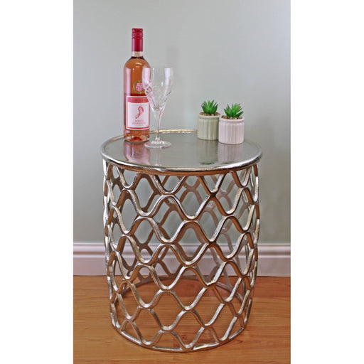 Decorative Silver Metal Side Table - Simply Utopia