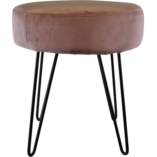 Pink Velvet Black Wire Leg Stool 35x40cm - Simply Utopia