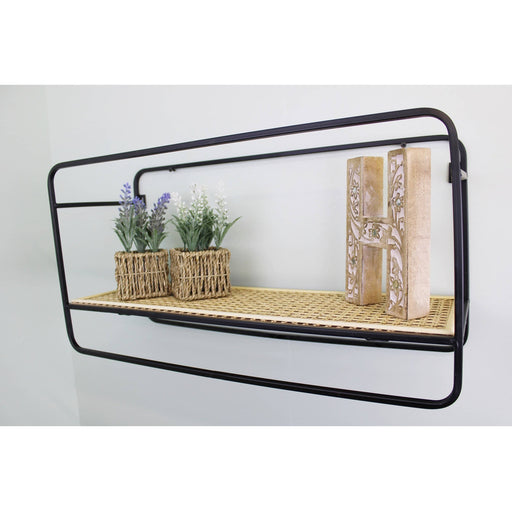 Large Wall Hanging Shelf Unit in Metal Weave Effect - Simply Utopia