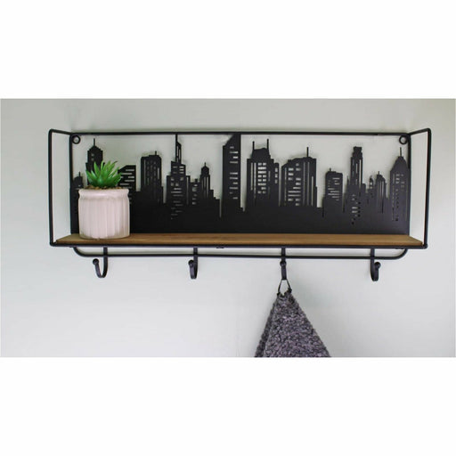 City Skyline Shelf Unit With 4 Hooks - Simply Utopia