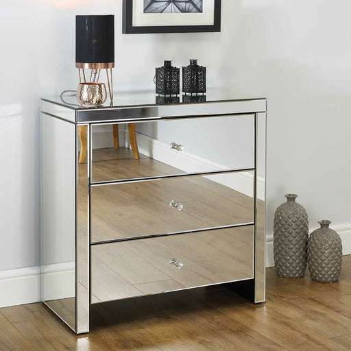 Seville Mirrored 3 Drawer Chest - Simply Utopia