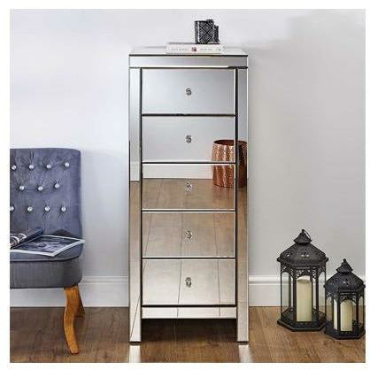 Seville Mirrored 5 Drawer Narrow Chest - Simply Utopia