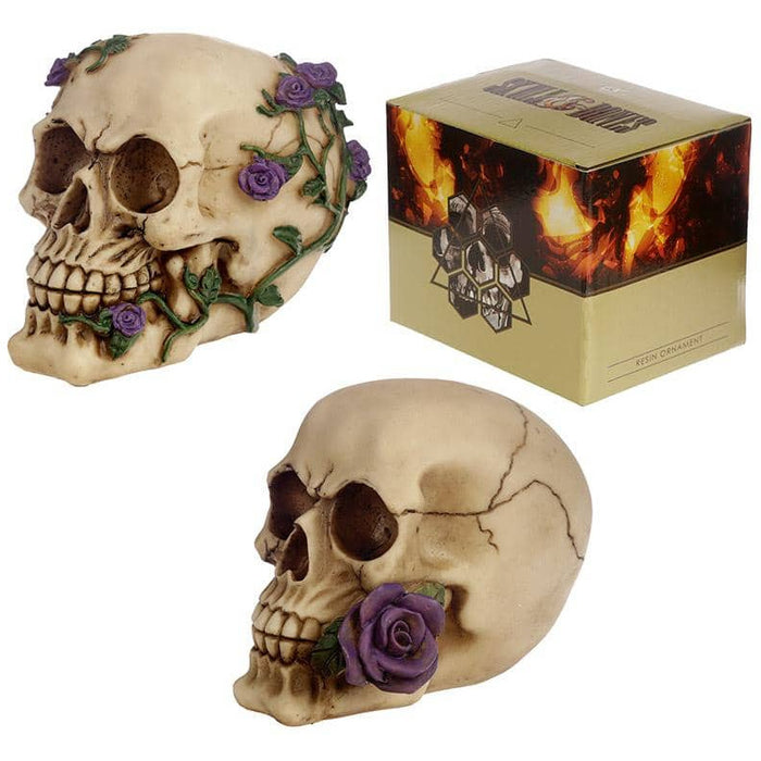 Gothic Skull Decoration with Purple Roses - Simply Utopia