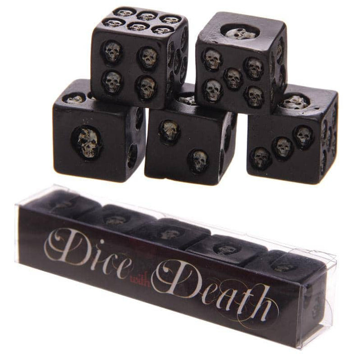 Set of 5 Black Skull Dice - Simply Utopia
