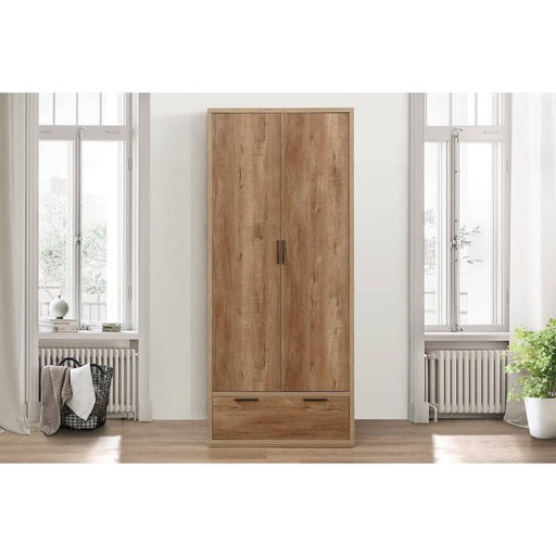 Stockwell 2 Door 1 Drawer Wardrobe Rustic Oak Effect - Simply Utopia
