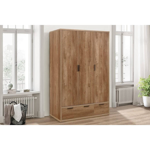 Stockwell 3 Door 2 Drawer Wardrobe Rustic Oak Effect - Simply Utopia