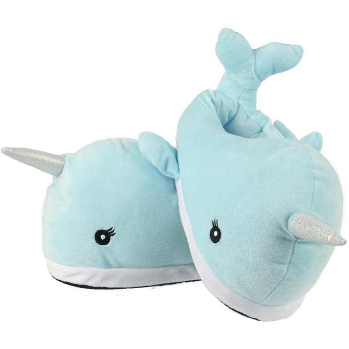 Kawaii Narwhal Pair of Plush Slippers - Simply Utopia