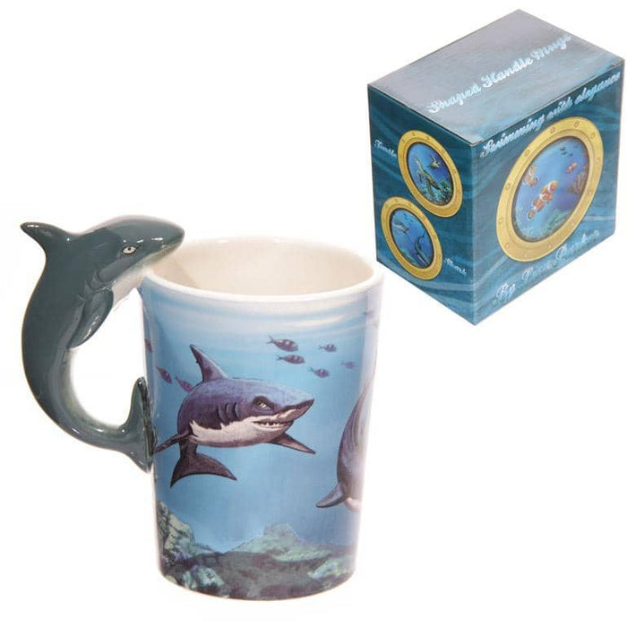 Novelty Sealife Design Shark Shaped Handle Ceramic Mug - Simply Utopia