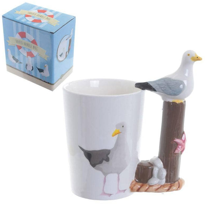 Fun Seagull Shaped Handle Ceramic Mug - Simply Utopia
