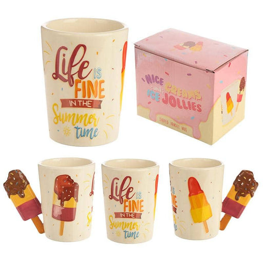 Collectable Shaped Handle Mug - Summer Ice Lolly with Slogan - Simply Utopia